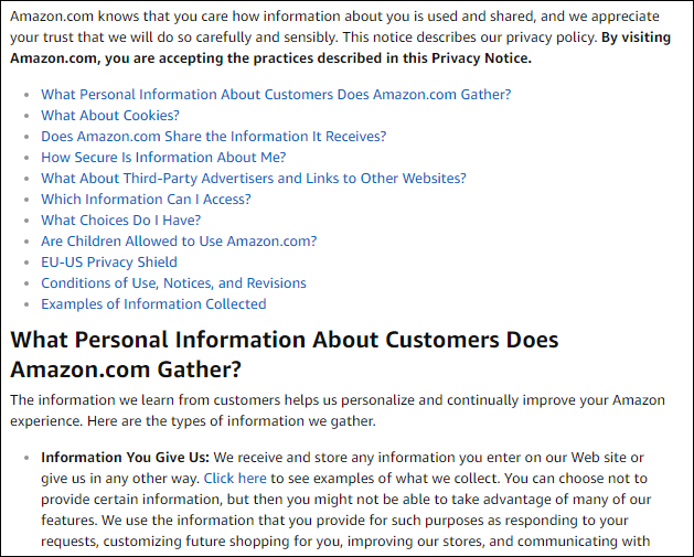 privacy policy for ecommerce website