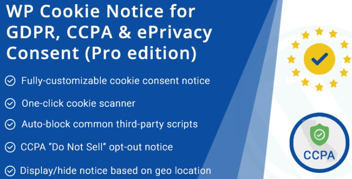 "Using a Plugin The WordPress Cookie Consent Plugin for GDPR & CCPA plugin helps you comply with the EU GDPR's cookie consent and CCPA's ""Do Not Sell"" opt-out regulations."