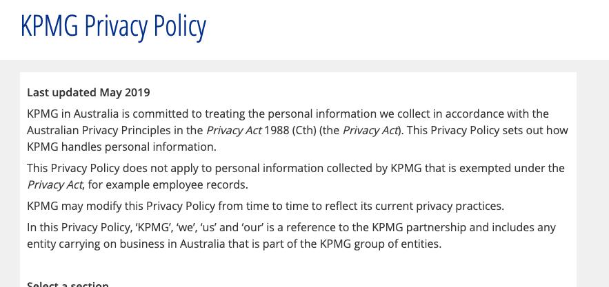 KPMG Australia Privacy Policy