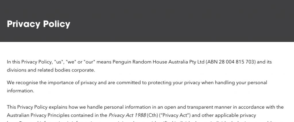 Penguin Australia Privacy Policy
