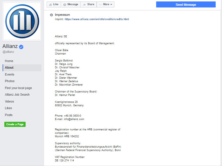 Allianz Facebook Impressum