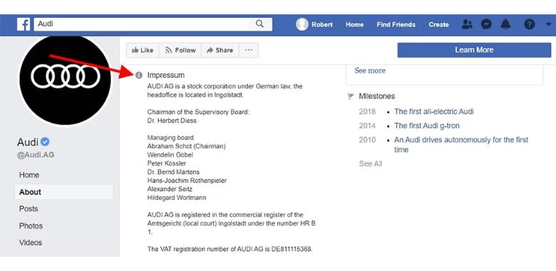 Audi Facebook Impressum