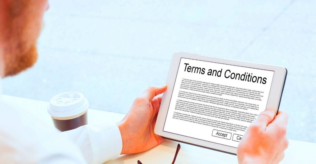 Terms and conditions page WordPress